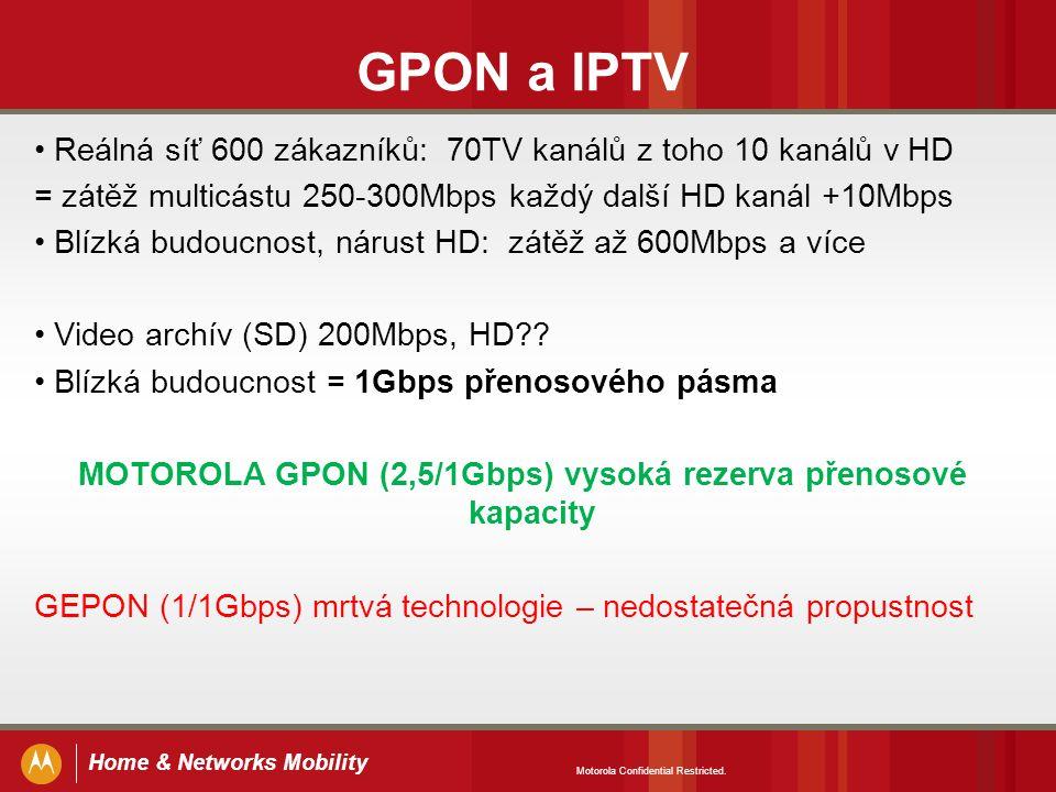Home & Networks Mobility GPON a IPTV Reálná síť 600 zákazníků: 70TV kanálů z toho 10 kanálů v HD = zátěž multicástu 250-300Mbps každý další HD kanál +