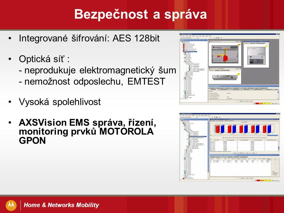 Home & Networks Mobility Bezpečnost a správa Integrované šifrování: AES 128bit Optická síť : - neprodukuje elektromagnetický šum - nemožnost odposlech