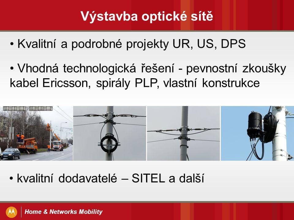 Home & Networks Mobility Výstavba optické sítě Kvalitní a podrobné projekty UR, US, DPS Vhodná technologická řešení - pevnostní zkoušky kabel Ericsson