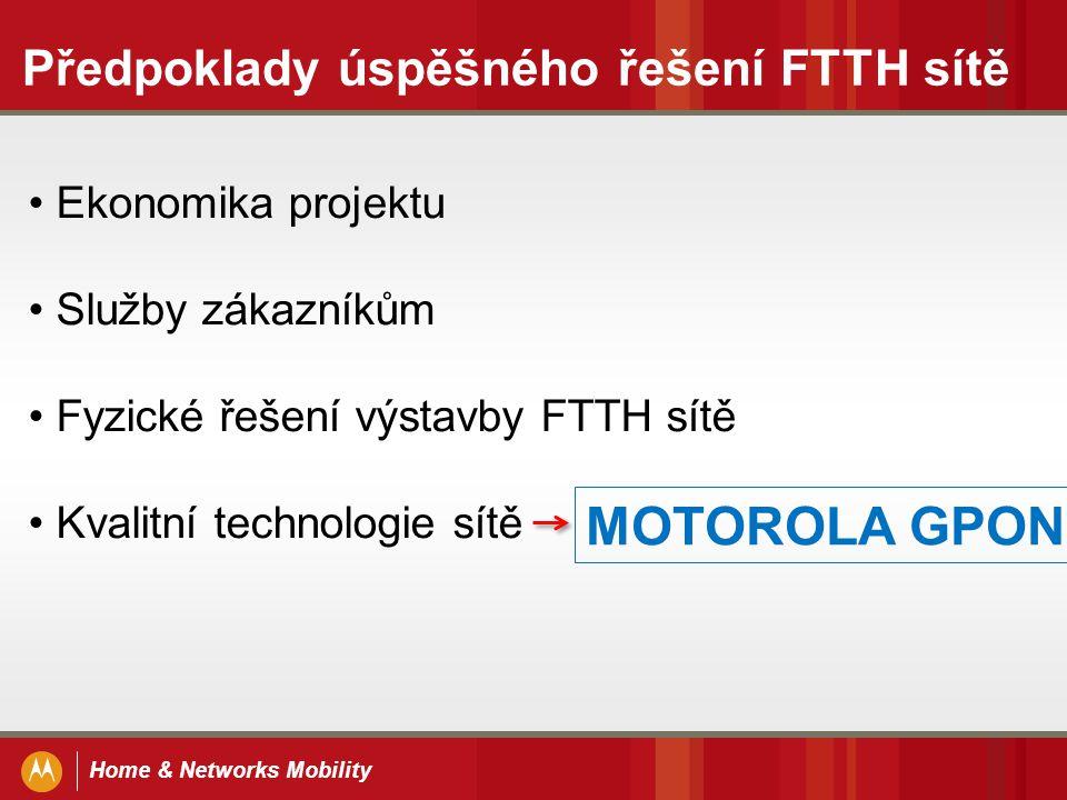 Home & Networks Mobility Předpoklady úspěšného řešení FTTH sítě Ekonomika projektu Služby zákazníkům Fyzické řešení výstavby FTTH sítě Kvalitní techno