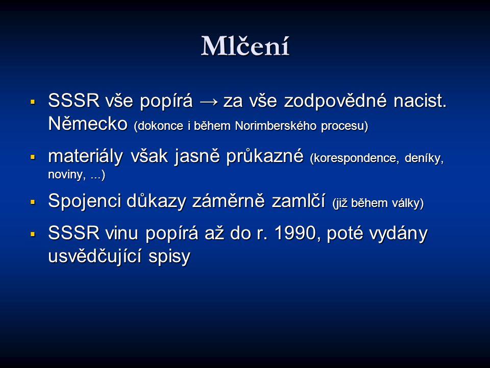 Mlčení  SSSR vše popírá → za vše zodpovědné nacist.