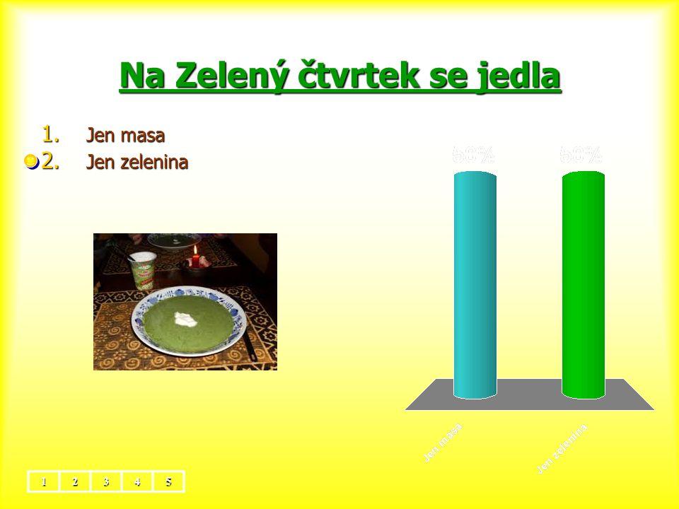 Na Zelený čtvrtek se jedla 12345 1. Jen masa 2. Jen zelenina