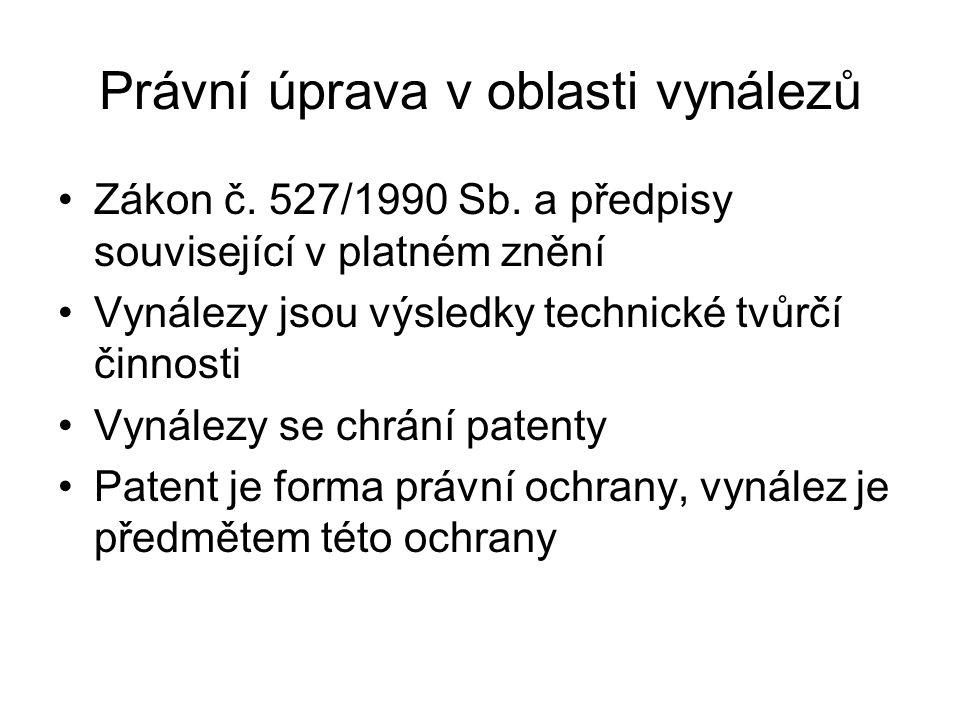 Právní úprava v oblasti vynálezů Zákon č. 527/1990 Sb. a předpisy související v platném znění Vynálezy jsou výsledky technické tvůrčí činnosti Vynález