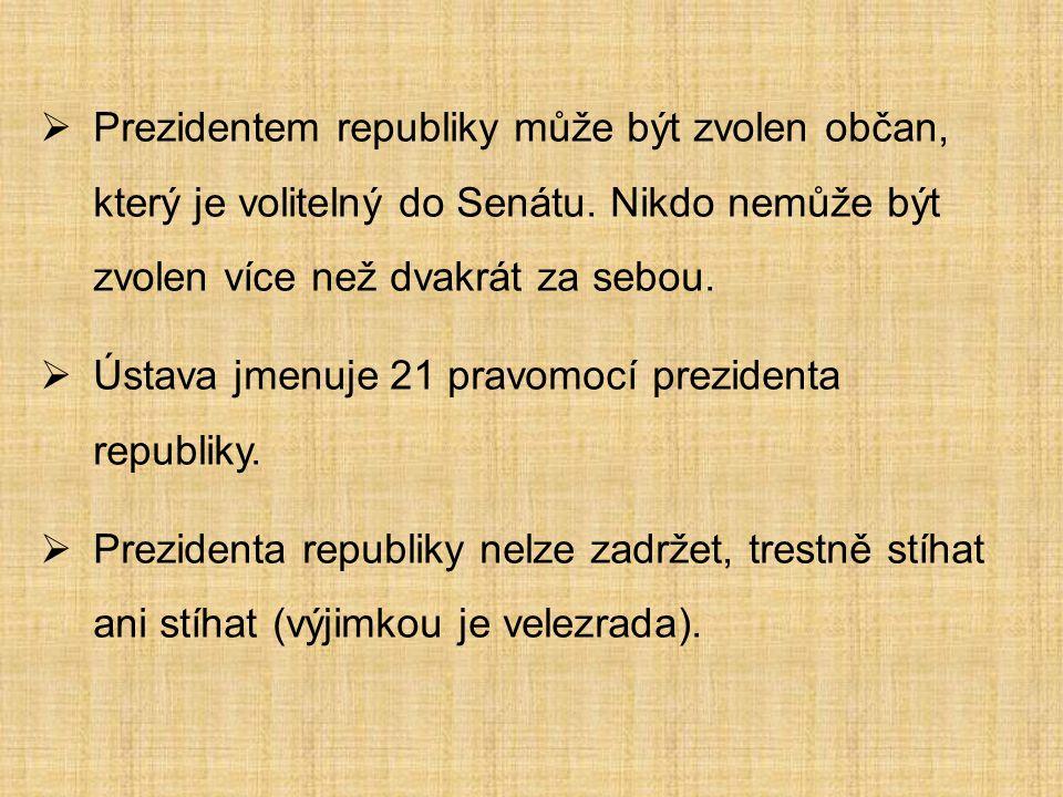  Prezidentem republiky může být zvolen občan, který je volitelný do Senátu.