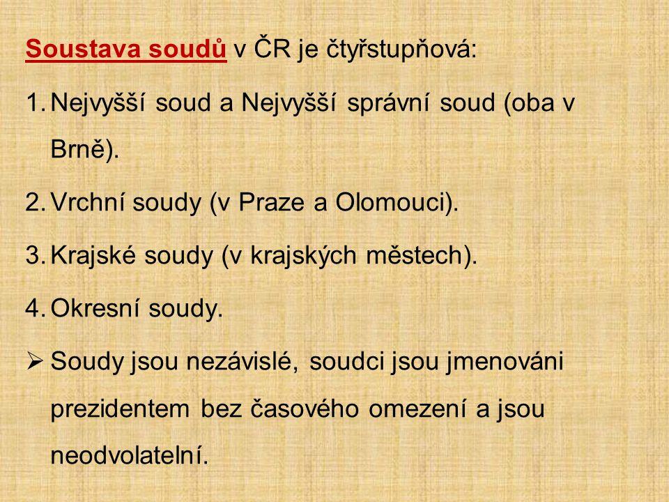 Soustava soudů v ČR je čtyřstupňová: 1.Nejvyšší soud a Nejvyšší správní soud (oba v Brně).
