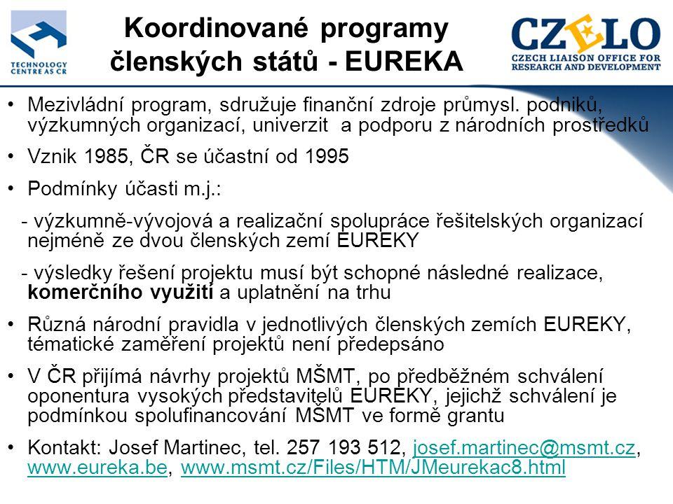 Koordinované programy členských států - EUREKA Mezivládní program, sdružuje finanční zdroje průmysl.