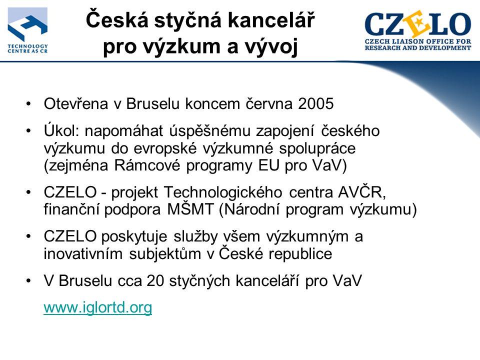 Česká styčná kancelář pro výzkum a vývoj Otevřena v Bruselu koncem června 2005 Úkol: napomáhat úspěšnému zapojení českého výzkumu do evropské výzkumné spolupráce (zejména Rámcové programy EU pro VaV) CZELO - projekt Technologického centra AVČR, finanční podpora MŠMT (Národní program výzkumu) CZELO poskytuje služby všem výzkumným a inovativním subjektům v České republice V Bruselu cca 20 styčných kanceláří pro VaV www.iglortd.org
