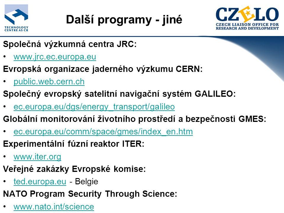 Společná výzkumná centra JRC: www.jrc.ec.europa.eu Evropská organizace jaderného výzkumu CERN: public.web.cern.ch Společný evropský satelitní navigační systém GALILEO: ec.europa.eu/dgs/energy_transport/galileo Globální monitorování životního prostředí a bezpečnosti GMES: ec.europa.eu/comm/space/gmes/index_en.htm Experimentální fúzní reaktor ITER: www.iter.org Veřejné zakázky Evropské komise: ted.europa.eu - Belgieted.europa.eu NATO Program Security Through Science: www.nato.int/science Další programy - jiné