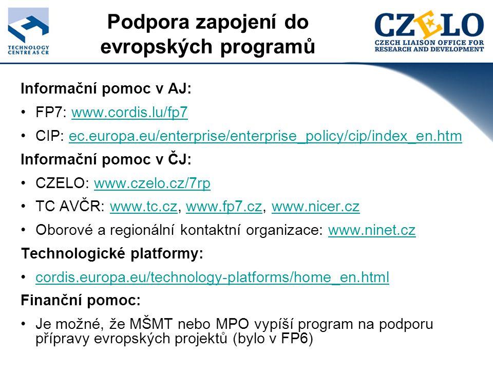 Informační pomoc v AJ: FP7: www.cordis.lu/fp7www.cordis.lu/fp7 CIP: ec.europa.eu/enterprise/enterprise_policy/cip/index_en.htmec.europa.eu/enterprise/enterprise_policy/cip/index_en.htm Informační pomoc v ČJ: CZELO: www.czelo.cz/7rpwww.czelo.cz/7rp TC AVČR: www.tc.cz, www.fp7.cz, www.nicer.czwww.tc.czwww.fp7.czwww.nicer.cz Oborové a regionální kontaktní organizace: www.ninet.czwww.ninet.cz Technologické platformy: cordis.europa.eu/technology-platforms/home_en.html Finanční pomoc: Je možné, že MŠMT nebo MPO vypíší program na podporu přípravy evropských projektů (bylo v FP6) Podpora zapojení do evropských programů