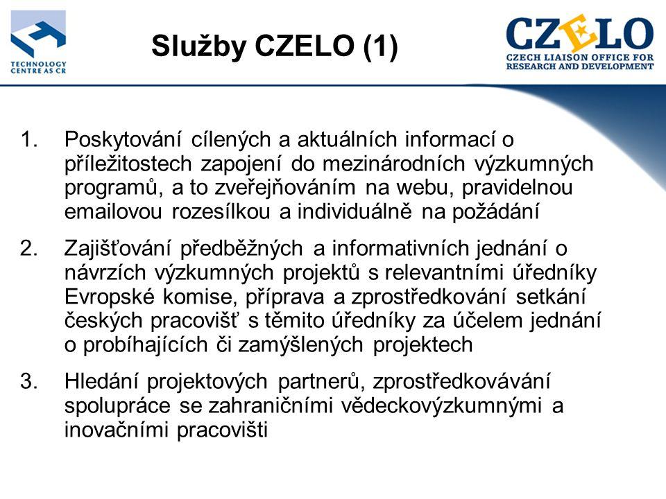 Služby CZELO (1) 1.Poskytování cílených a aktuálních informací o příležitostech zapojení do mezinárodních výzkumných programů, a to zveřejňováním na webu, pravidelnou emailovou rozesílkou a individuálně na požádání 2.Zajišťování předběžných a informativních jednání o návrzích výzkumných projektů s relevantními úředníky Evropské komise, příprava a zprostředkování setkání českých pracovišť s těmito úředníky za účelem jednání o probíhajících či zamýšlených projektech 3.Hledání projektových partnerů, zprostředkovávání spolupráce se zahraničními vědeckovýzkumnými a inovačními pracovišti