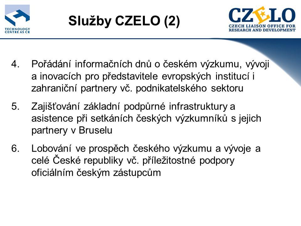 Vybrané akce v Bruselu Round Table & Lunch Workshop, Kulturní dědictví & zdravotní výzkum v ČR, říjen 2005 Presentace regionu Severovýchodní Čechy, listopad 2005 Semináře o 7.