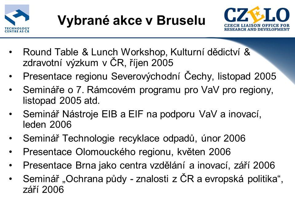 Další aktivity (1) Poradenská činnost: Zapojení MSP do evropských programů pro výzkum a vývoj (TESCO Olomouc, GEOTEST Brno…) Zařazení výzkumných témat do Pracovních programů (Škoda Auto, Geofyzikální ústav AVČR…) Semináře o VaV v České republice: UP Olomouc; Svaz chem.průmyslu Pardubice; CDV Brno; AVO Praha; Výzkumný fond uhlí a oceli; FEL ČVUT; Slyšení o odpadech v Senátu ČR; Těžební unie Brno; RKO Plzeň; RKO Brno… Iniciace seminářů: v rámci Českých dnů pro evropský výzkum (s německým KoWi); IPR Helpdesk; CORDIS; ESASTAP