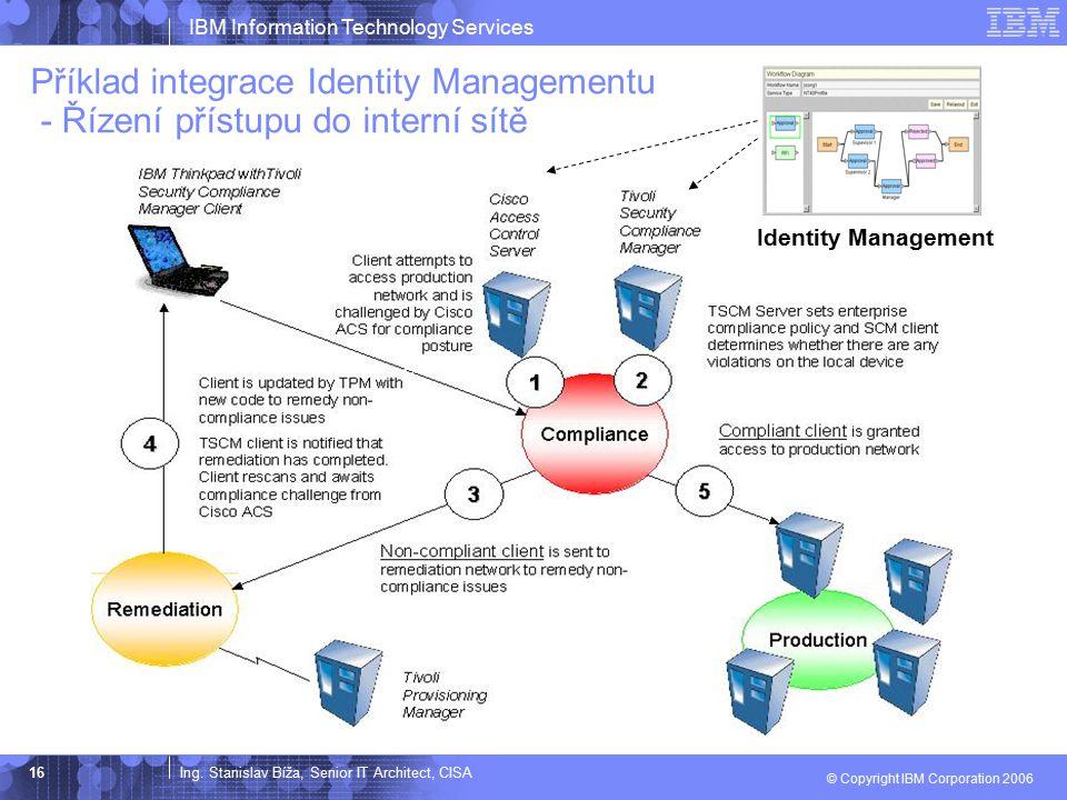 Ing. Stanislav Bíža, Senior IT Architect, CISA IBM Information Technology Services © Copyright IBM Corporation 2006 16 Příklad integrace Identity Mana