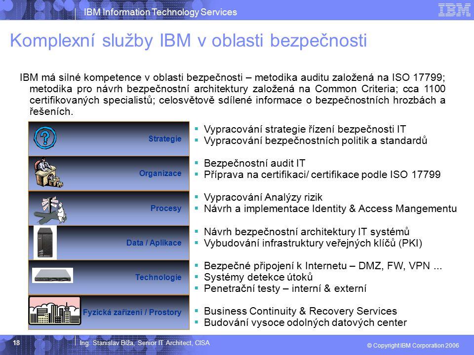 Ing. Stanislav Bíža, Senior IT Architect, CISA IBM Information Technology Services © Copyright IBM Corporation 2006 18 Komplexní služby IBM v oblasti