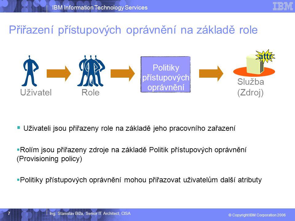 Ing. Stanislav Bíža, Senior IT Architect, CISA IBM Information Technology Services © Copyright IBM Corporation 2006 7 Přiřazení přístupových oprávnění
