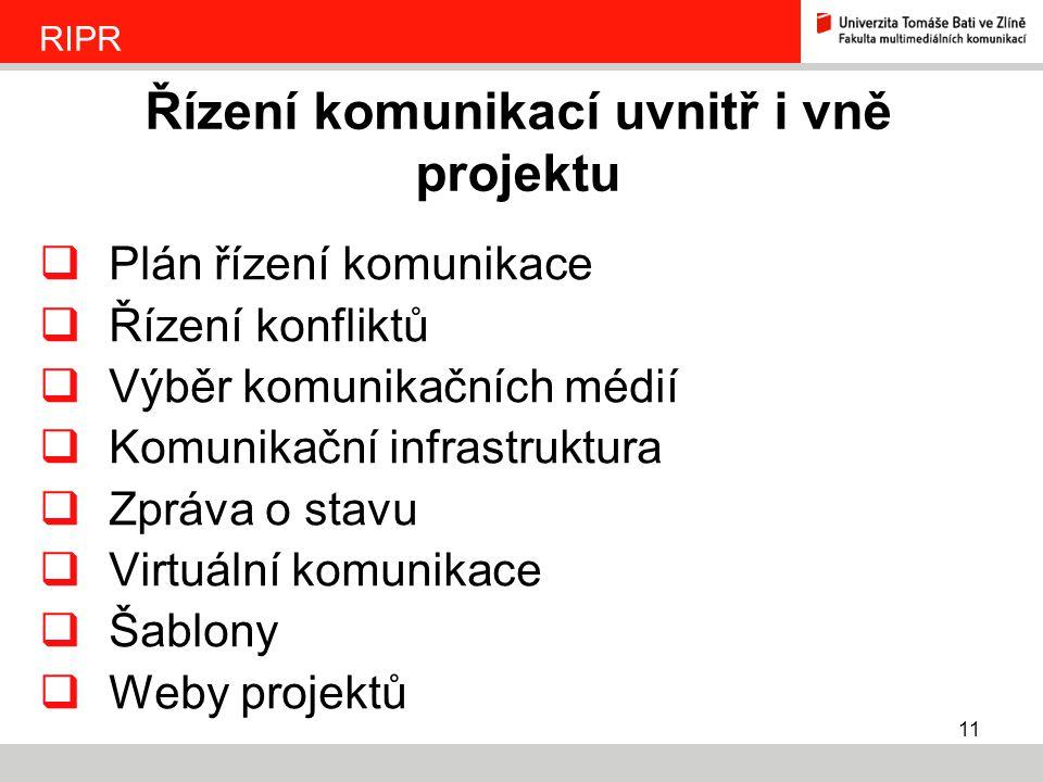 11  Plán řízení komunikace  Řízení konfliktů  Výběr komunikačních médií  Komunikační infrastruktura  Zpráva o stavu  Virtuální komunikace  Šabl