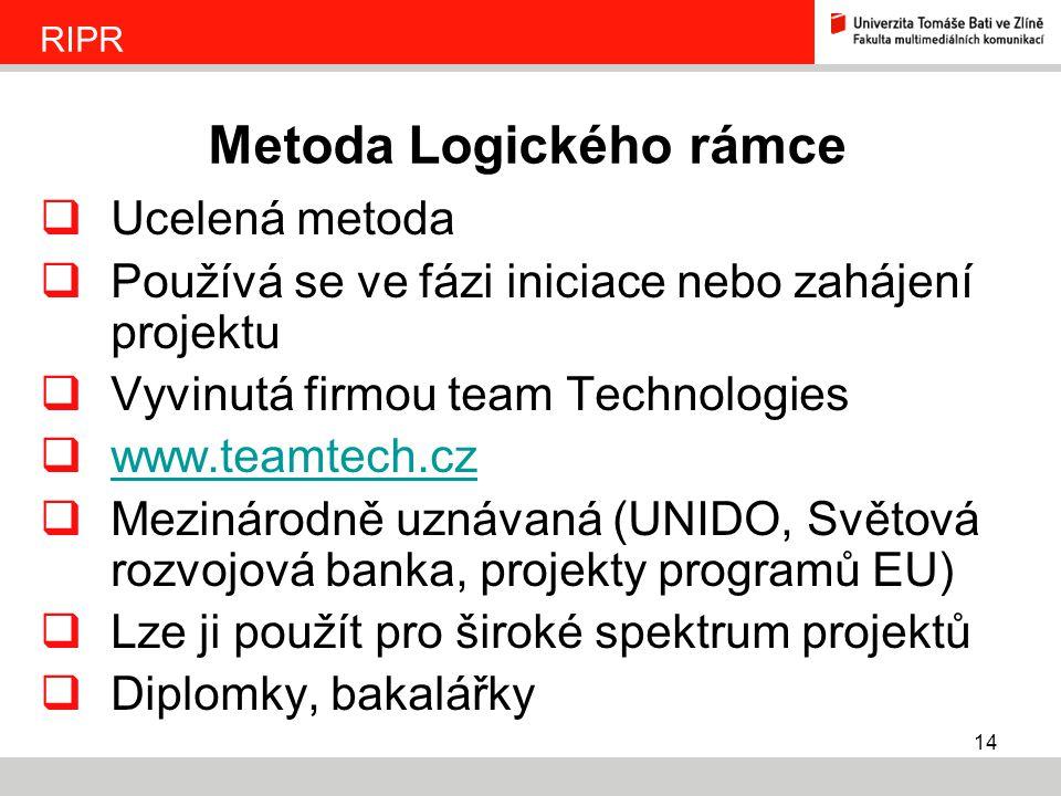 14  Ucelená metoda  Používá se ve fázi iniciace nebo zahájení projektu  Vyvinutá firmou team Technologies  www.teamtech.cz www.teamtech.cz  Mezin