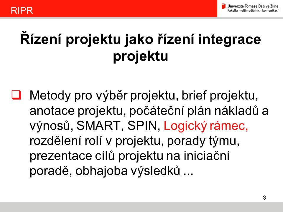 3  Metody pro výběr projektu, brief projektu, anotace projektu, počáteční plán nákladů a výnosů, SMART, SPIN, Logický rámec, rozdělení rolí v projekt
