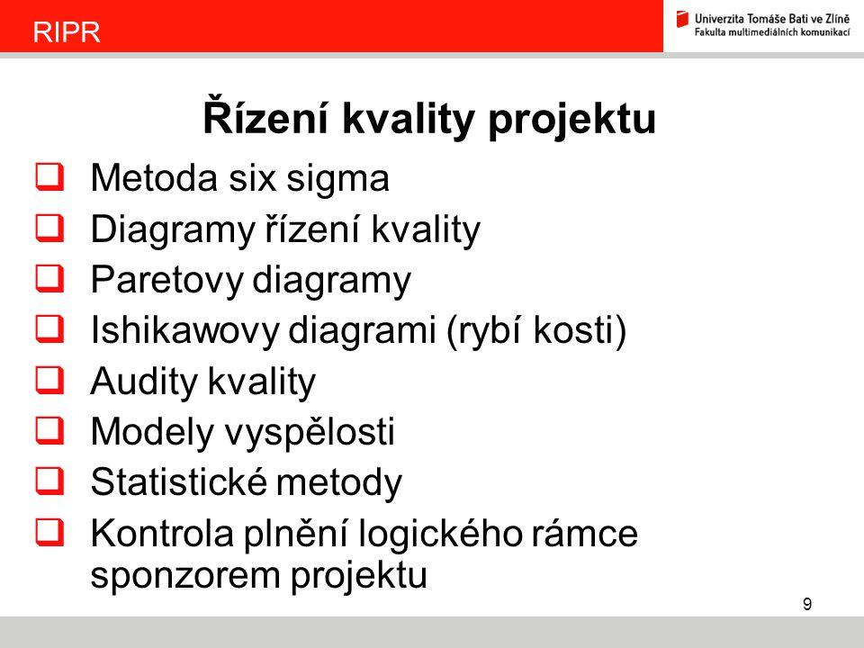 9  Metoda six sigma  Diagramy řízení kvality  Paretovy diagramy  Ishikawovy diagrami (rybí kosti)  Audity kvality  Modely vyspělosti  Statistic