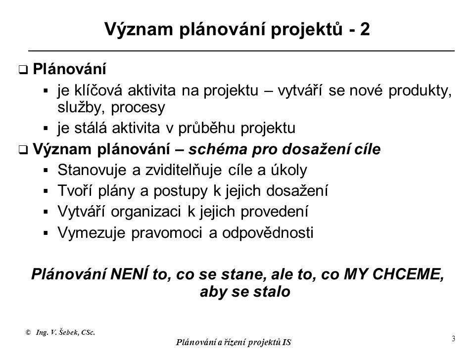 © Ing. V. Šebek, CSc. Plánování a řízení projektů IS 3 Význam plánování projektů - 2  Plánování  je klíčová aktivita na projektu – vytváří se nové p