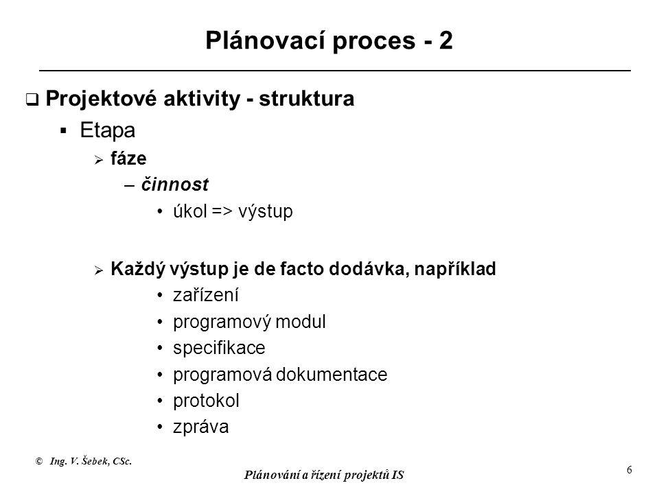 © Ing. V. Šebek, CSc. Plánování a řízení projektů IS 6 Plánovací proces - 2  Projektové aktivity - struktura  Etapa  fáze –činnost úkol => výstup 
