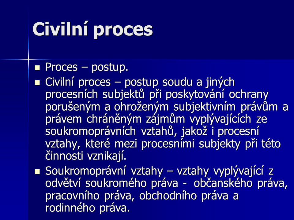 Civilní proces Proces – postup. Proces – postup. Civilní proces – postup soudu a jiných procesních subjektů při poskytování ochrany porušeným a ohrože