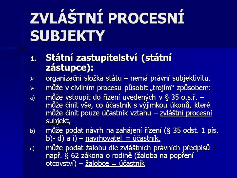 ZVLÁŠTNÍ PROCESNÍ SUBJEKTY 1. Státní zastupitelství (státní zástupce):  organizační složka státu – nemá právní subjektivitu.  může v civilním proces