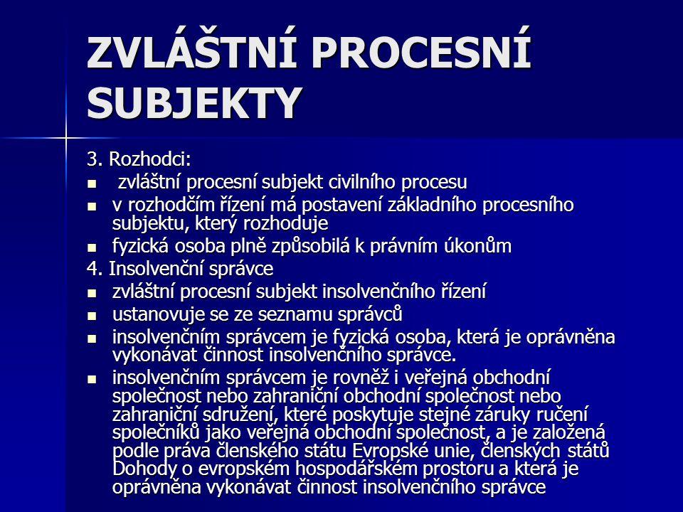 ZVLÁŠTNÍ PROCESNÍ SUBJEKTY 3. Rozhodci: zvláštní procesní subjekt civilního procesu zvláštní procesní subjekt civilního procesu v rozhodčím řízení má