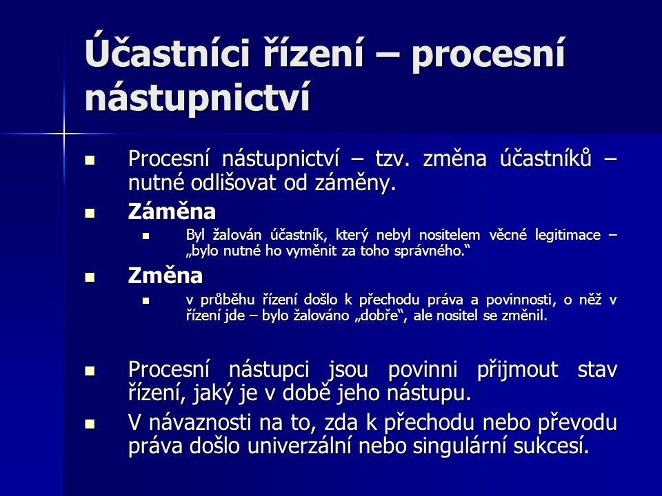 Účastníci řízení – procesní nástupnictví Procesní nástupnictví – tzv. změna účastníků – nutné odlišovat od záměny. Procesní nástupnictví – tzv. změna