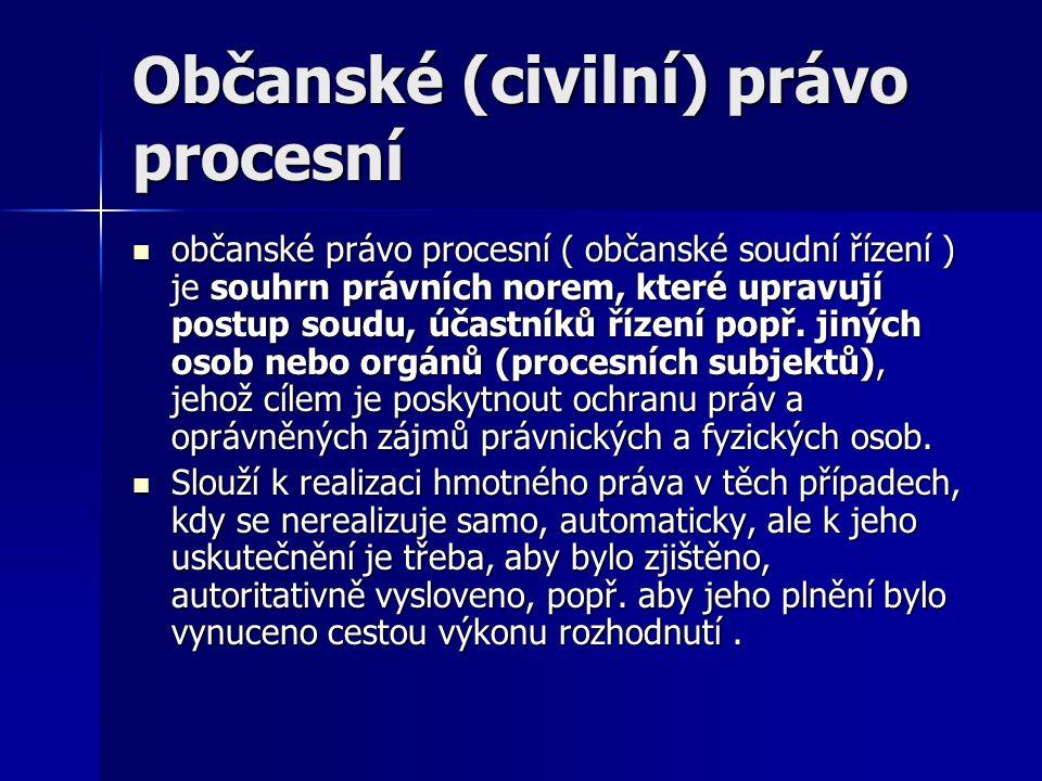 Občanské (civilní) právo procesní občanské právo procesní ( občanské soudní řízení ) je souhrn právních norem, které upravují postup soudu, účastníků