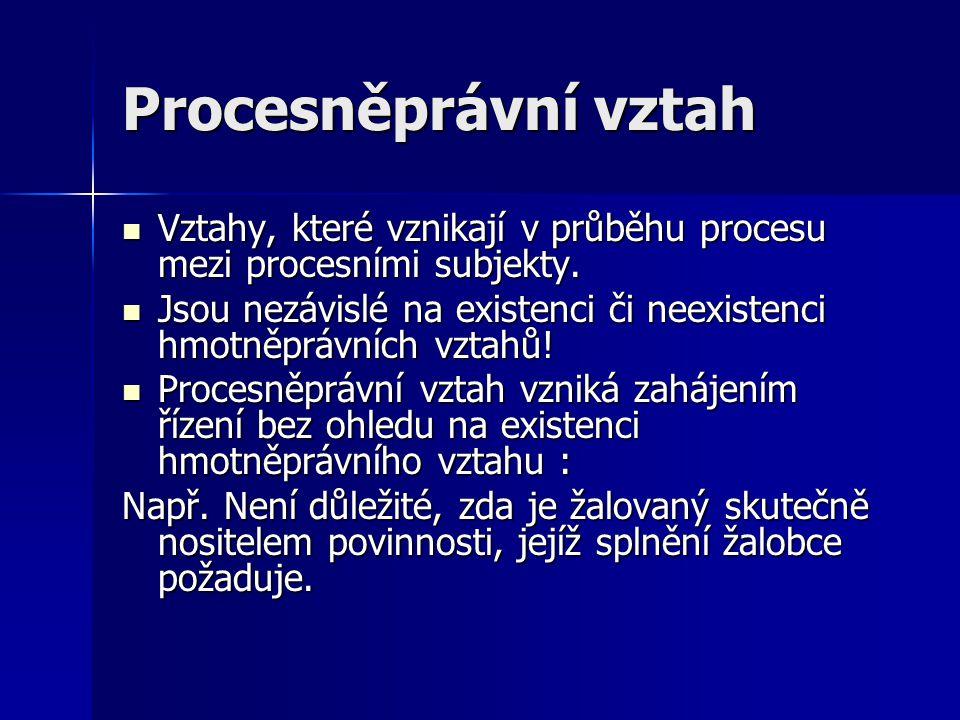 Procesněprávní vztah Vztahy, které vznikají v průběhu procesu mezi procesními subjekty. Vztahy, které vznikají v průběhu procesu mezi procesními subje