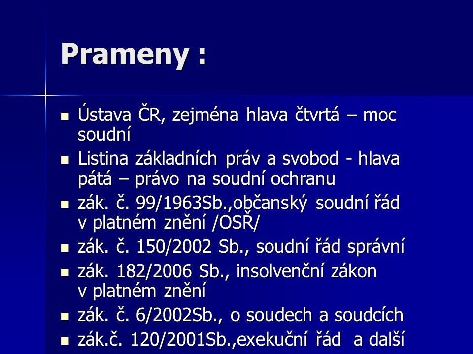 Prameny : Ústava ČR, zejména hlava čtvrtá – moc soudní Ústava ČR, zejména hlava čtvrtá – moc soudní Listina základních práv a svobod - hlava pátá – pr