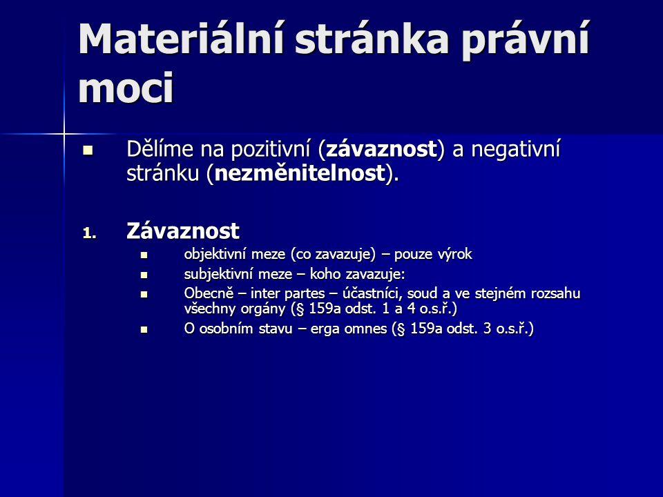 Materiální stránka právní moci Dělíme na pozitivní (závaznost) a negativní stránku (nezměnitelnost). Dělíme na pozitivní (závaznost) a negativní strán