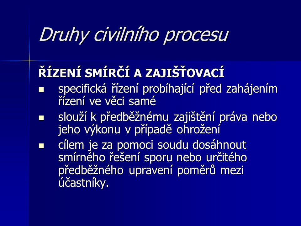 Druhy civilního procesu ŘÍZENÍ SMÍRČÍ A ZAJIŠŤOVACÍ specifická řízení probíhající před zahájením řízení ve věci samé specifická řízení probíhající pře