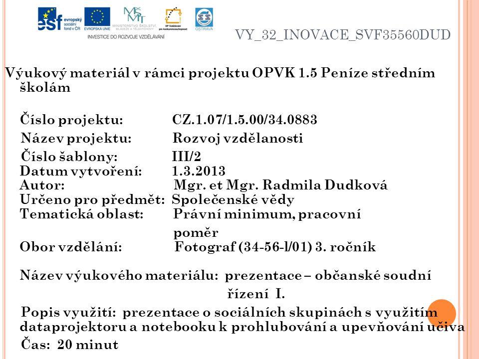 VY_32_INOVACE_SVF35560DUD Výukový materiál v rámci projektu OPVK 1.5 Peníze středním školám Číslo projektu: CZ.1.07/1.5.00/34.0883 Název projektu: Roz