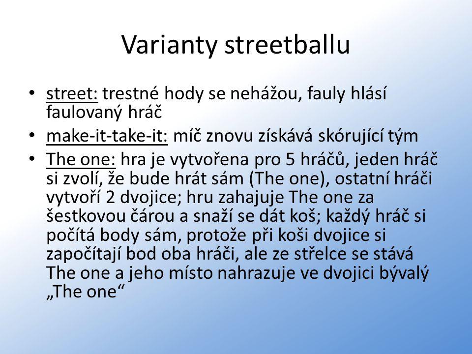 Varianty streetballu street: trestné hody se nehážou, fauly hlásí faulovaný hráč make-it-take-it: míč znovu získává skórující tým The one: hra je vytv