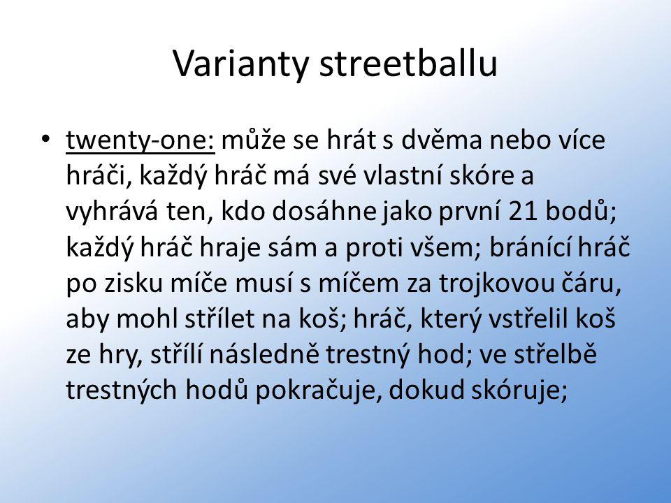 Varianty streetballu twenty-one: může se hrát s dvěma nebo více hráči, každý hráč má své vlastní skóre a vyhrává ten, kdo dosáhne jako první 21 bodů;