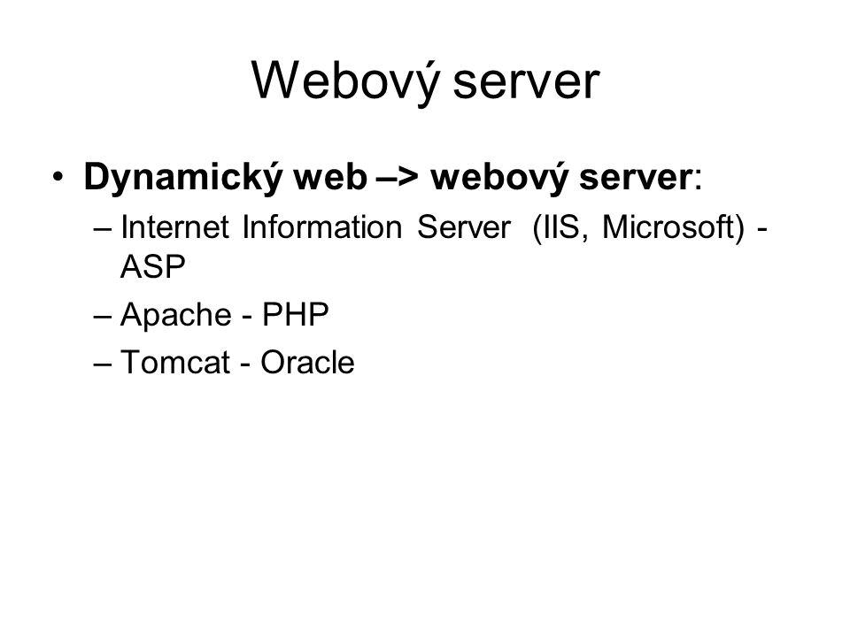 Webový server Dynamický web –> webový server: –Internet Information Server (IIS, Microsoft) - ASP –Apache - PHP –Tomcat - Oracle