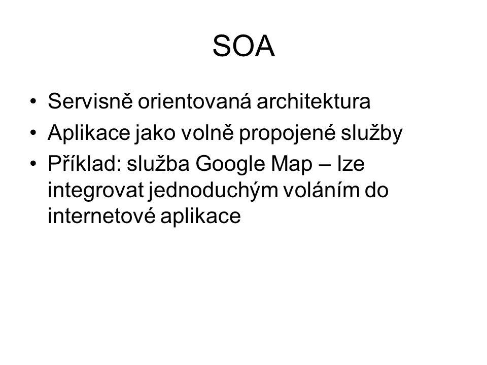 SOA Servisně orientovaná architektura Aplikace jako volně propojené služby Příklad: služba Google Map – lze integrovat jednoduchým voláním do internetové aplikace