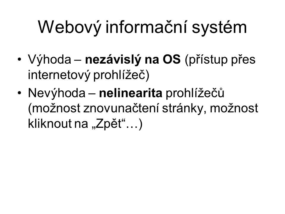 """Webový informační systém Výhoda – nezávislý na OS (přístup přes internetový prohlížeč) Nevýhoda – nelinearita prohlížečů (možnost znovunačtení stránky, možnost kliknout na """"Zpět …)"""
