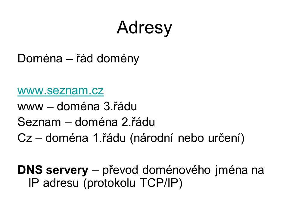 Adresy Doména – řád domény www.seznam.cz www – doména 3.řádu Seznam – doména 2.řádu Cz – doména 1.řádu (národní nebo určení) DNS servery – převod doménového jména na IP adresu (protokolu TCP/IP)