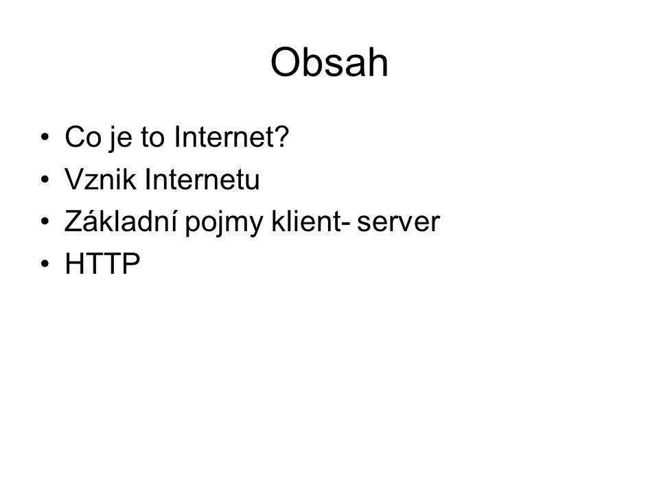 Obsah Co je to Internet? Vznik Internetu Základní pojmy klient- server HTTP
