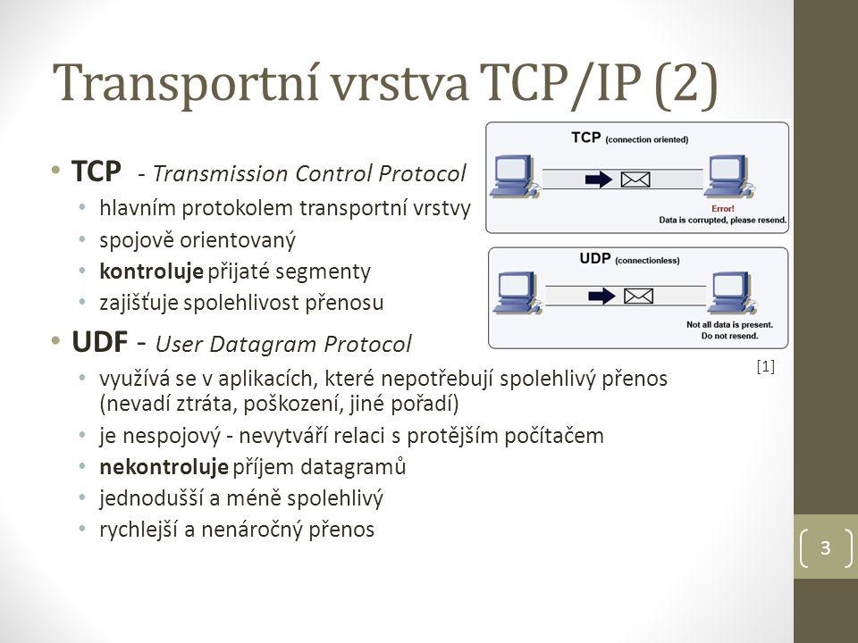 [2][2] Porty 16 bit číslo identifikující zdrojovou a cílovou aplikaci, mezi kterými probíhá spojení celkem 65 536 různých hodnot (0 – 65 535); rozdělení: dobře známé porty ( 0 – 1 023) čísla přidělena konkrétním aplikacím a procesům (HTTP, FTP, POP,...) registrované porty (1 024 – 49 151) pro dynamické přidělení odchozích portů klientských aplikací dynamické porty (49 152 – 65 535) přidělovány dynamicky aplikaci, která zahajuje síťové spojení IANA – Internet Assigned Numbers Authority organizace spravující čísla portů, IP adresy, DNS root servery 4