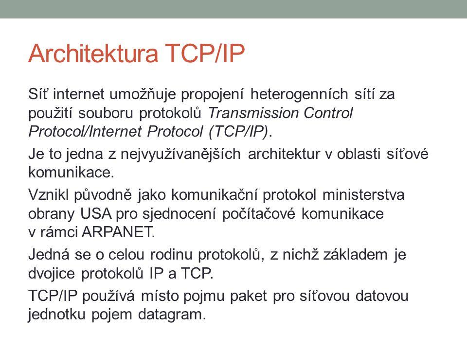 Architektura TCP/IP Síť internet umožňuje propojení heterogenních sítí za použití souboru protokolů Transmission Control Protocol/Internet Protocol (T
