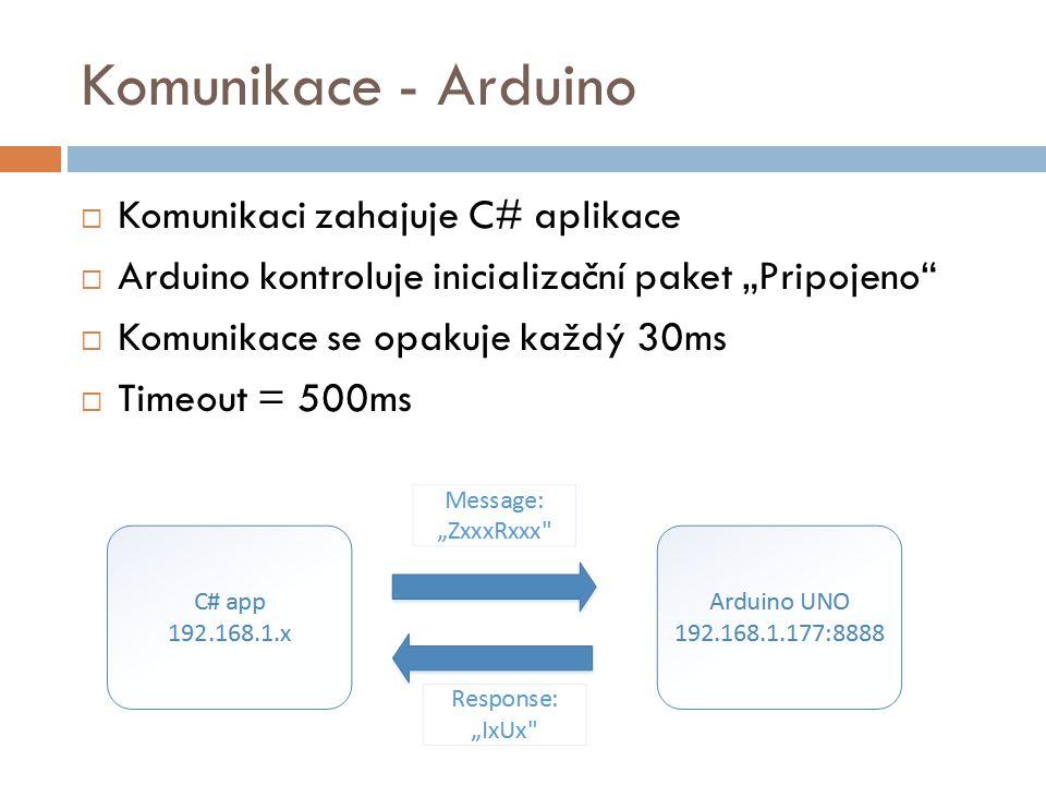 """Komunikace - Arduino  Komunikaci zahajuje C# aplikace  Arduino kontroluje inicializační paket """"Pripojeno""""  Komunikace se opakuje každý 30ms  Timeo"""