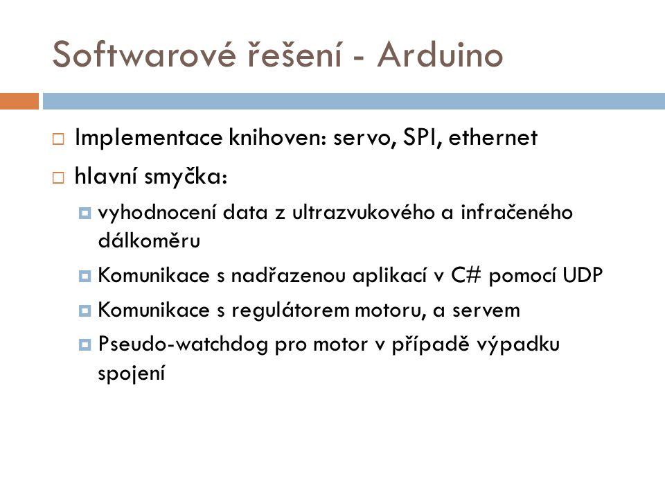 Softwarové řešení - Arduino  Implementace knihoven: servo, SPI, ethernet  hlavní smyčka:  vyhodnocení data z ultrazvukového a infračeného dálkoměru