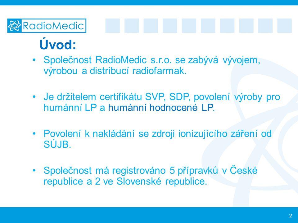 Úvod: Společnost RadioMedic s.r.o. se zabývá vývojem, výrobou a distribucí radiofarmak. Je držitelem certifikátu SVP, SDP, povolení výroby pro humánní