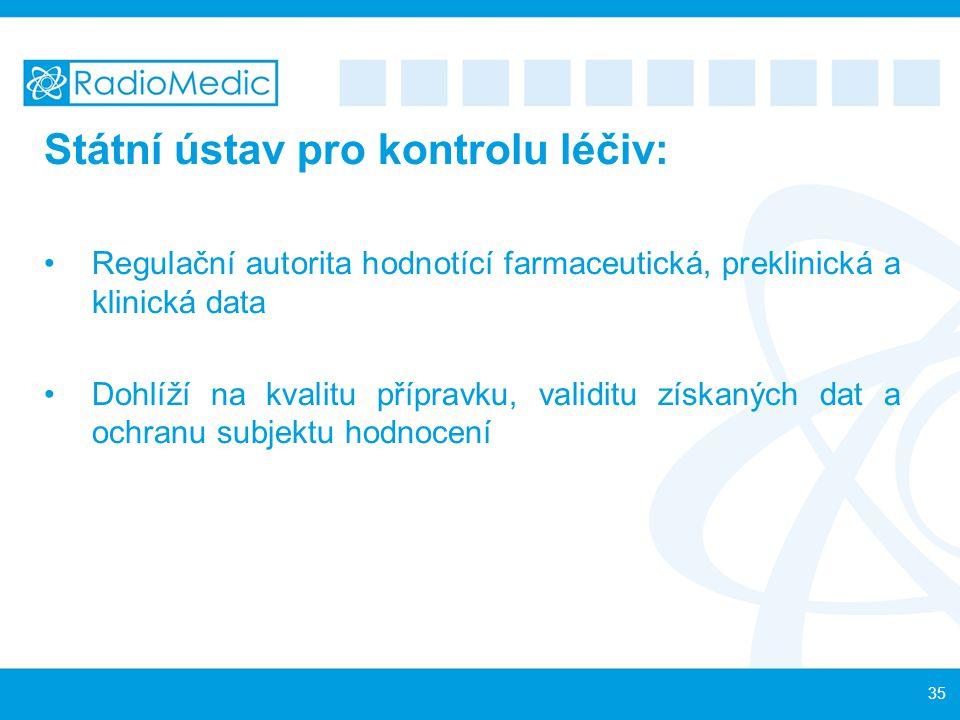 Státní ústav pro kontrolu léčiv: Regulační autorita hodnotící farmaceutická, preklinická a klinická data Dohlíží na kvalitu přípravku, validitu získan