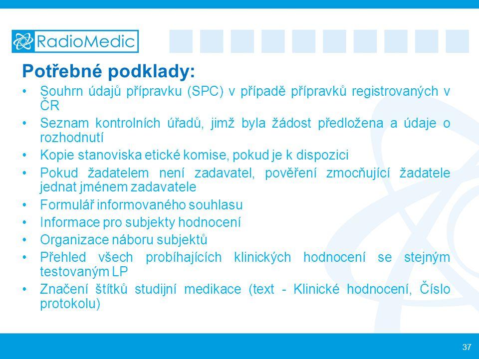 Potřebné podklady: Souhrn údajů přípravku (SPC) v případě přípravků registrovaných v ČR Seznam kontrolních úřadů, jimž byla žádost předložena a údaje