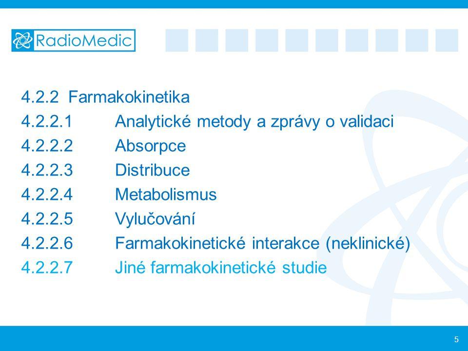 4.2.2Farmakokinetika 4.2.2.1Analytické metody a zprávy o validaci 4.2.2.2Absorpce 4.2.2.3Distribuce 4.2.2.4Metabolismus 4.2.2.5Vylučování 4.2.2.6Farma